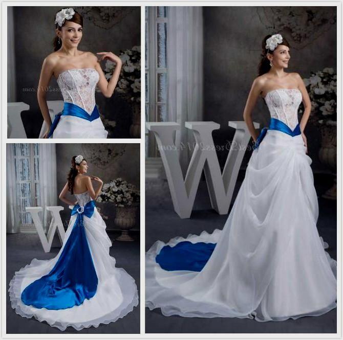 Elegant White Wedding Dress With Blue Accents Naf Dresses