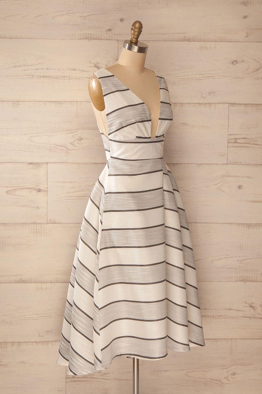Lochinver - Ivory a-line midi striped dress