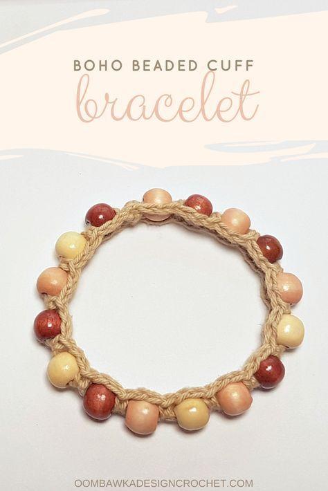 Boho Beaded Cuff Bracelet Pattern Crochet Projects Pinterest