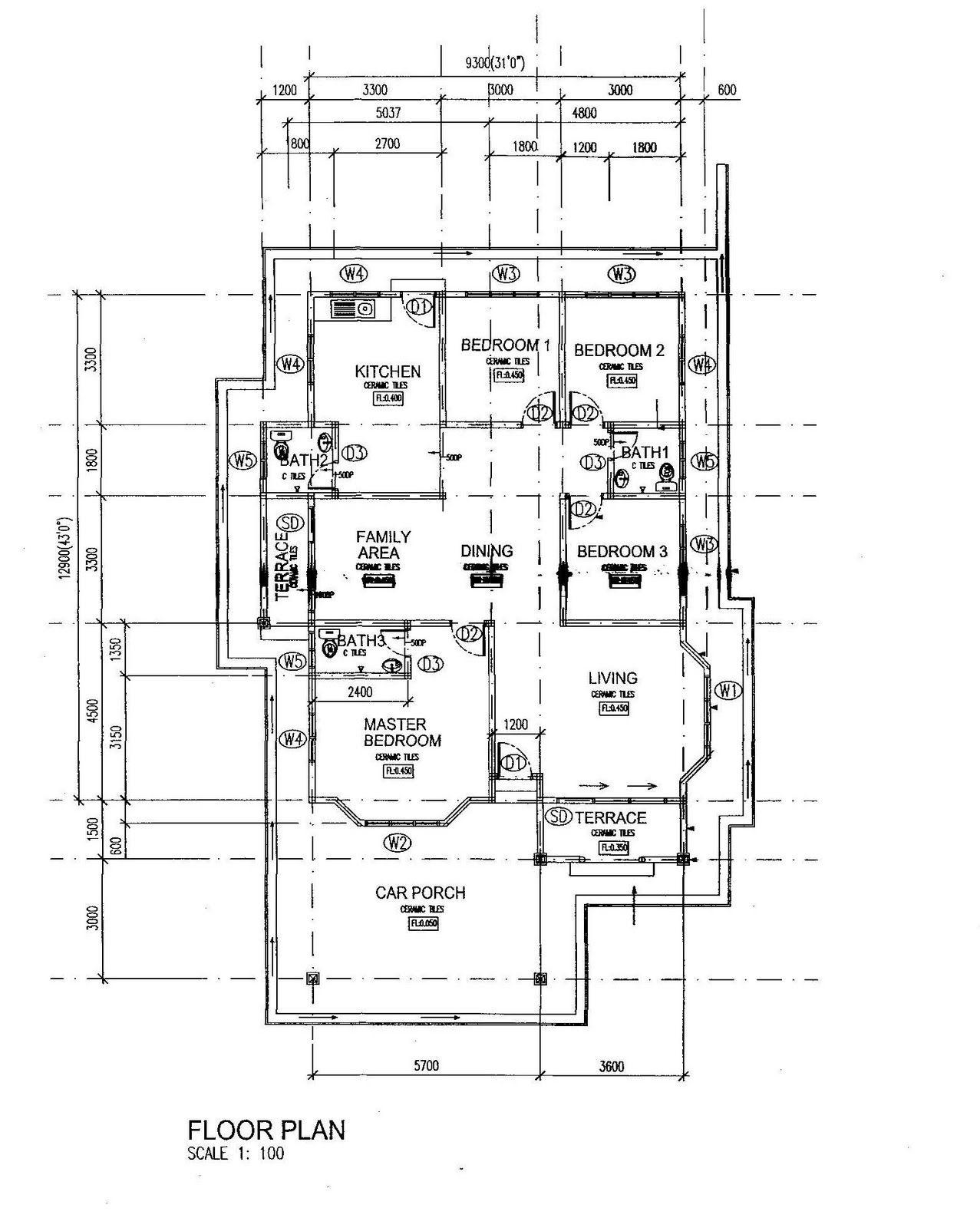 Pelan Lantai Rumah Banglo 2 Tingkat