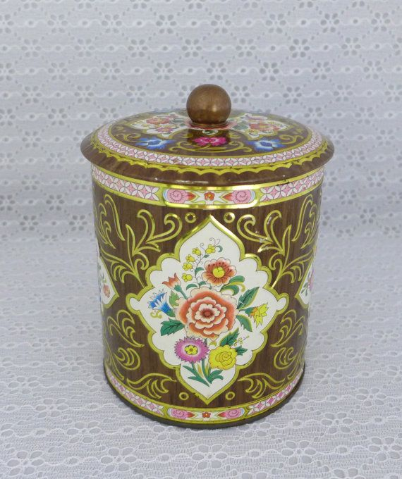 Daher Tin Container Vintage Brown Floral by RaindropVintageShop, $8.00