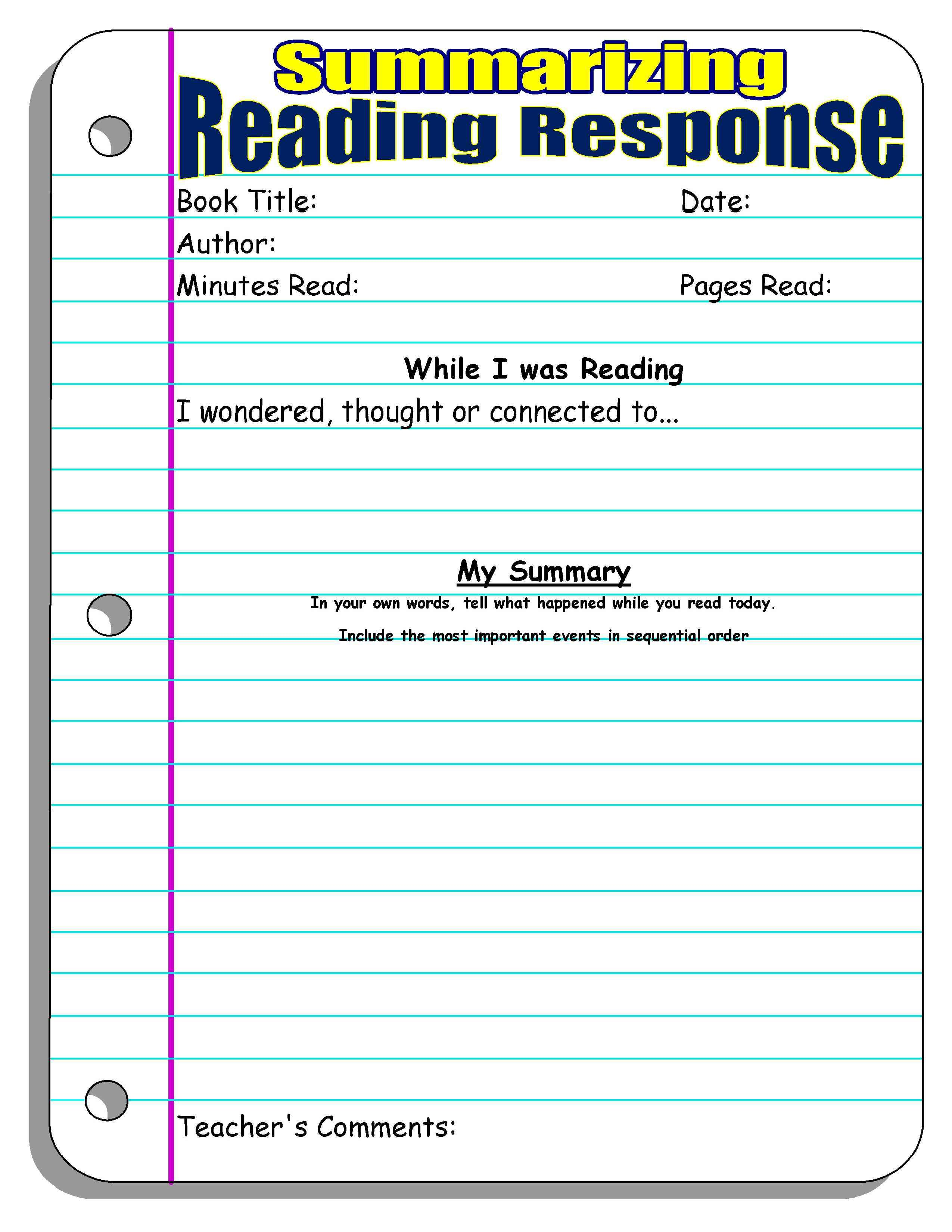 5th Grade Summary Graphic Organizer