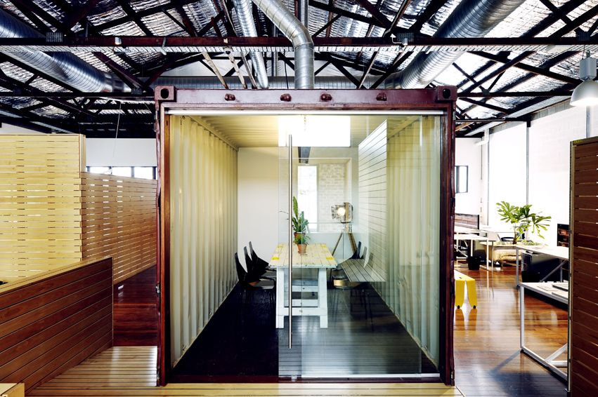 Creative Use Of A Shipping Container As A Meeting Conference Room