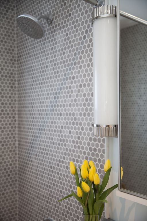 Bathroom Hexagon Uptown Glass Mosaic Tile In Matte Frost