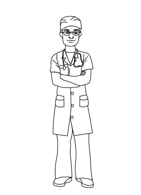 Doctor Wearing Operating Suit Coloring Page Coloring Sun Coloring Books Nurse Drawing Coloring Pictures