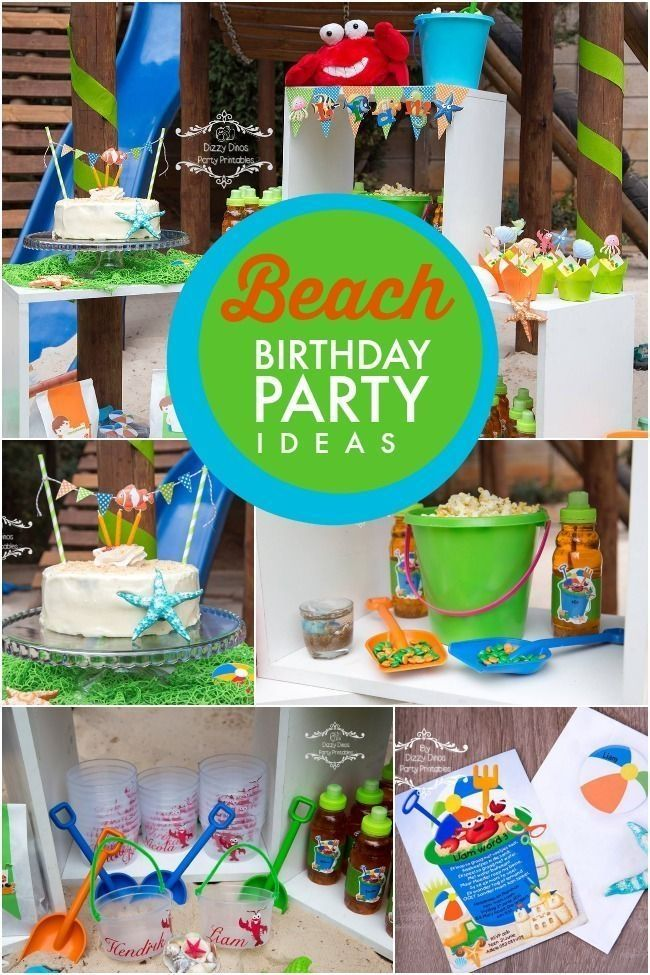 A Boy S Beach Themed 3rd Birthday Party With Images Beach