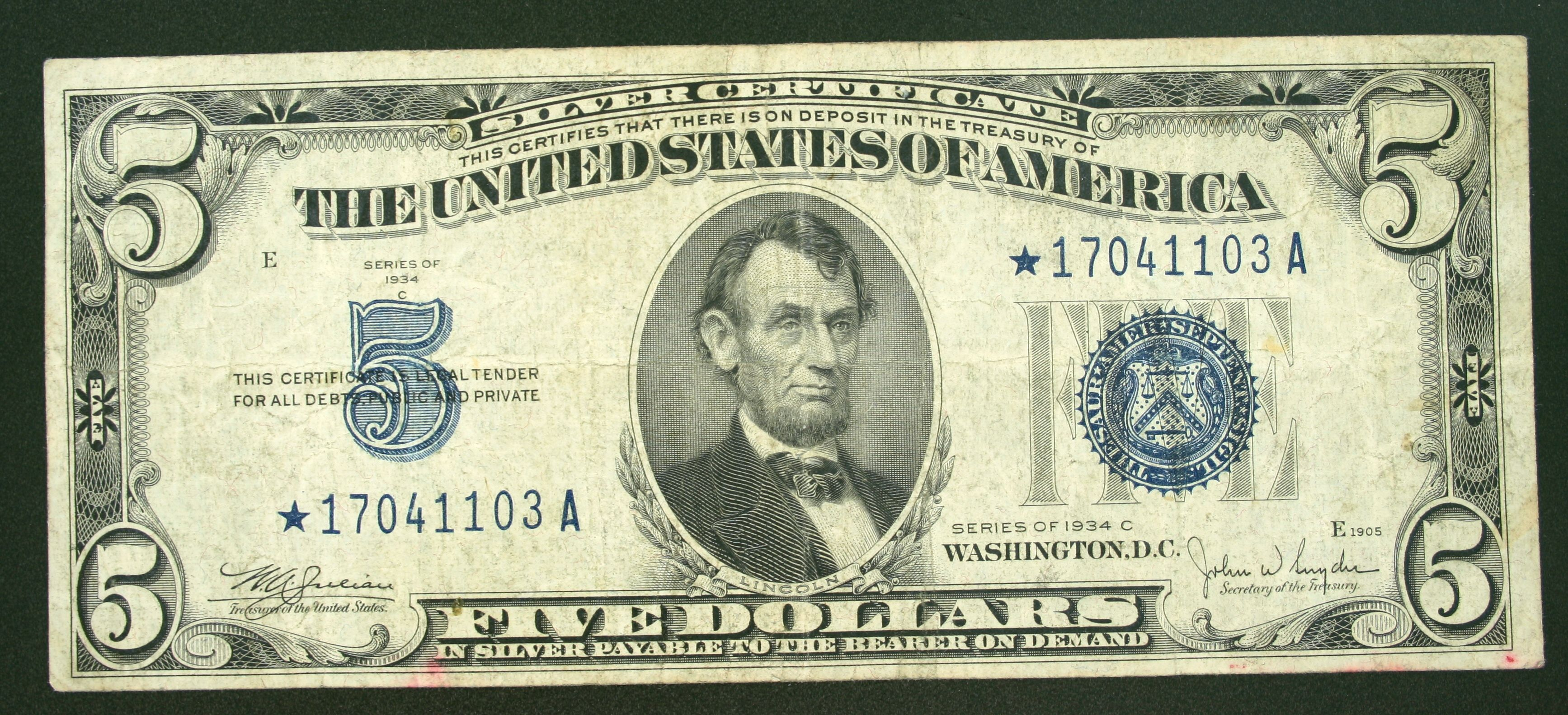 Five Dollar Star Note Coins Pinterest Silver Certificate Us