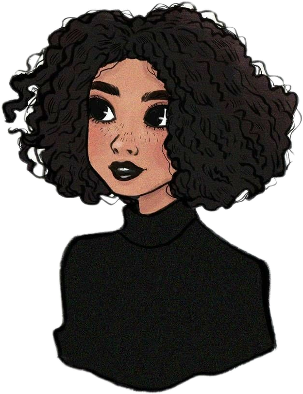 Girl Draw Black Curlyhair Sticker By Anita Cartoon Girl Drawing Black Girl Cartoon How To Draw Hair