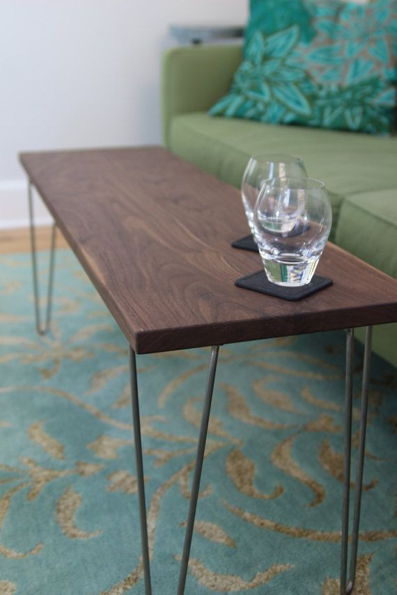 f07ca72feac4 Modern Narrow Coffee Table   Bench with Stainless Steel Hairpin legs in  Solid Walnut or White Oak