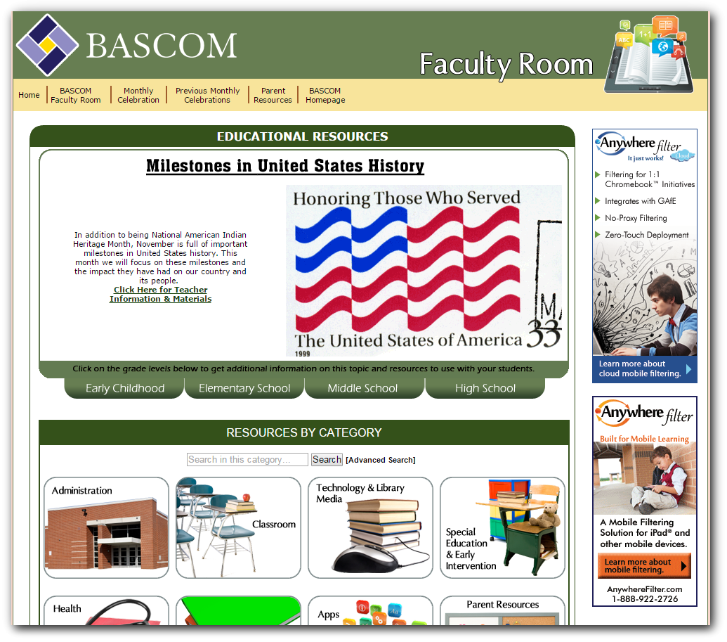Native American Indian Heritage Month and other Milestones in United States History - November 2014, BASCOM's Faculty Room offers resources for educators to help teach students about great milestones in United States history that occur during November and other monthly celebrations
