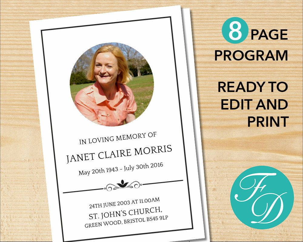It's just a graphic of Playful Free Printable Funeral Programs