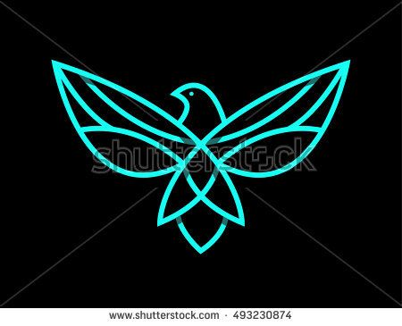 Flying Bird Logo Design Abstract Vector Template Linear Style On A