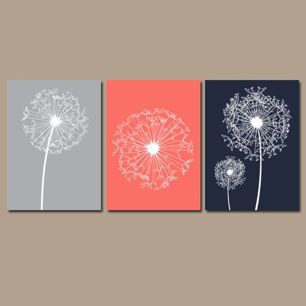 DANDELION Wall Art Coral Navy Gray Bedroom Wall Art By