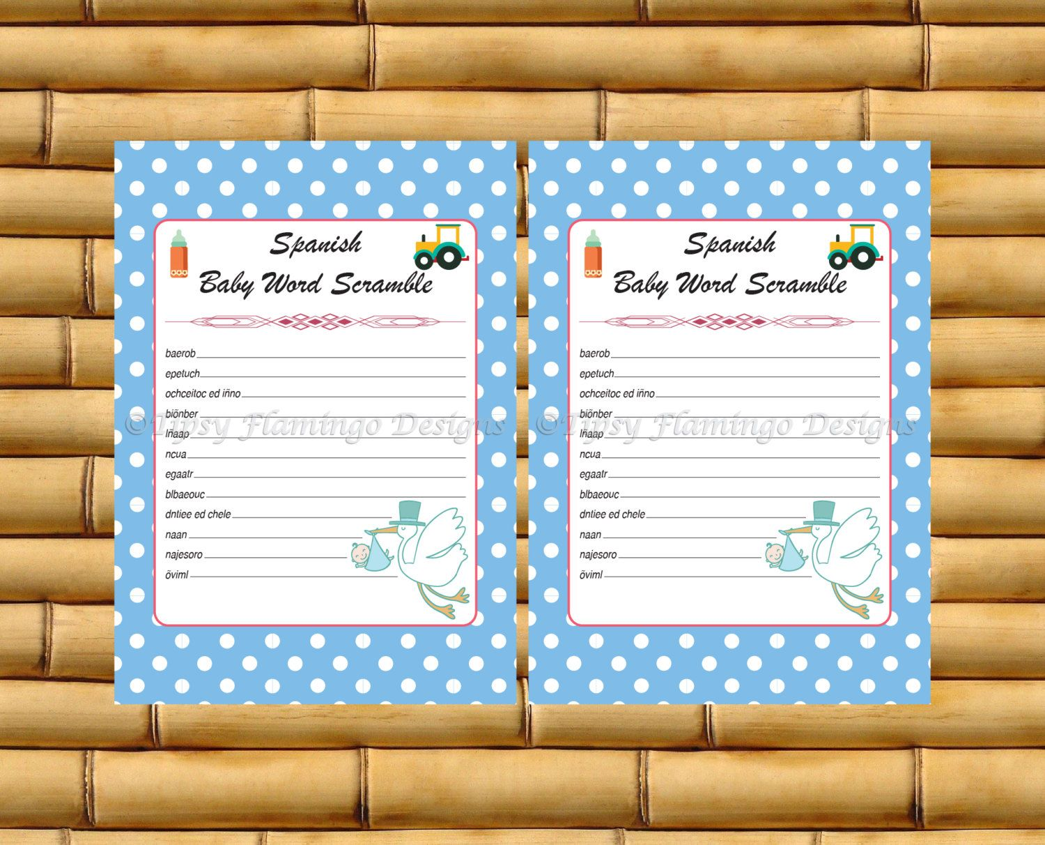 Word Scramble Spanish Baby Shower Baby Shower Game Espanol Stork Boy Blue White Poka