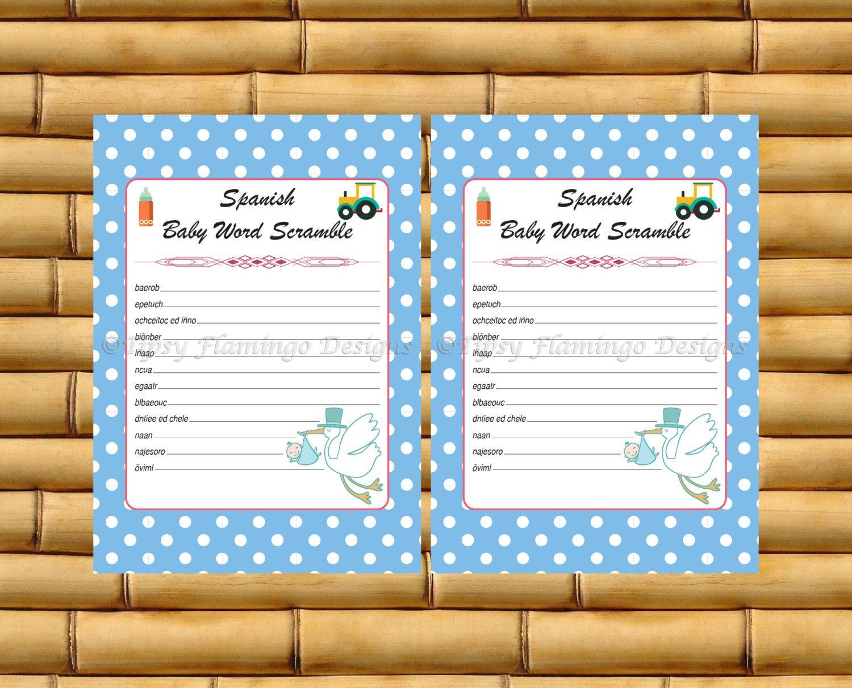 Word Scramble Spanish Baby Shower Baby Shower Game Espanol Stork Boy Blue White Poka