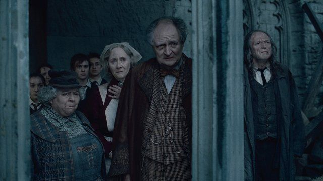 Still Of Jim Broadbent David Bradley Gemma Jones And Miriam Margolyes In Harry Potter And The Deathly Hall Hogwarts Staff Harry Potter Deathly Hallows Part 2