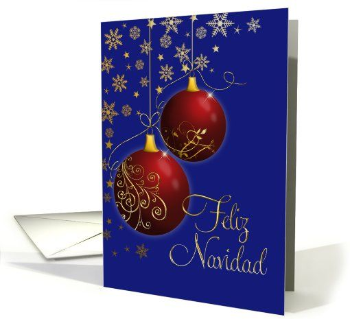 FelizNavidad #spanish red and gold #ornaments #card (704919) 4 sold to customer in  New York, United States