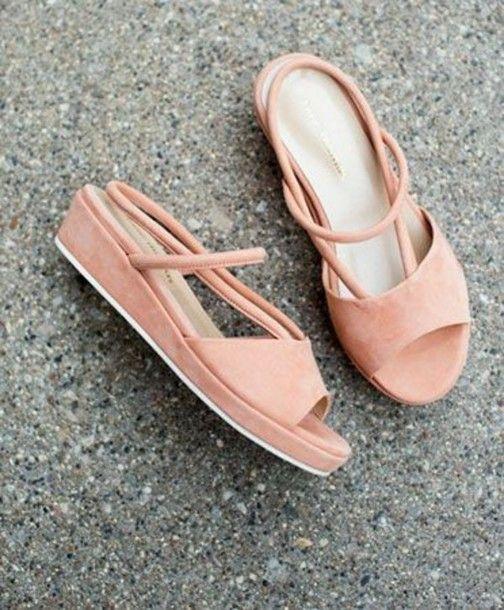 Shoes: suede shoes, peach, suede, summer shoes, pink shoes, nude shoes, sandals, platform shoes, cut out shoes - Wheretoget