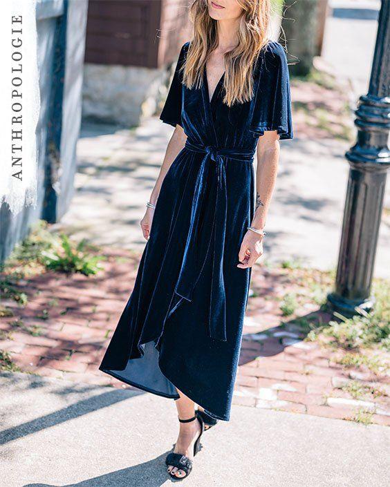 01fd8665ca3f Velvet Wrap Dress   Shop Anthropologie   Fall Fashion   Fashion ...