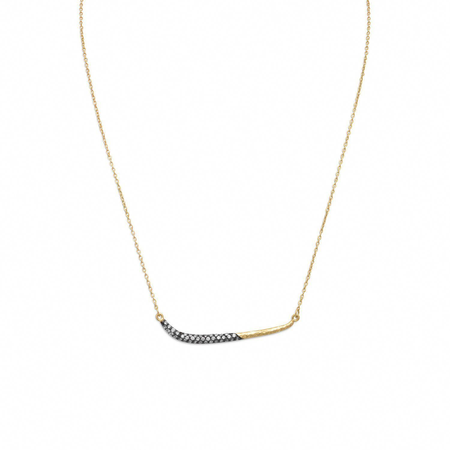 17 1 14 Karat Gold Plated Necklace With Oxidized Cz Bar Finegoldnecklaces