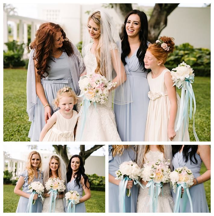 Bride And Bridesmaids In Modest Dresses