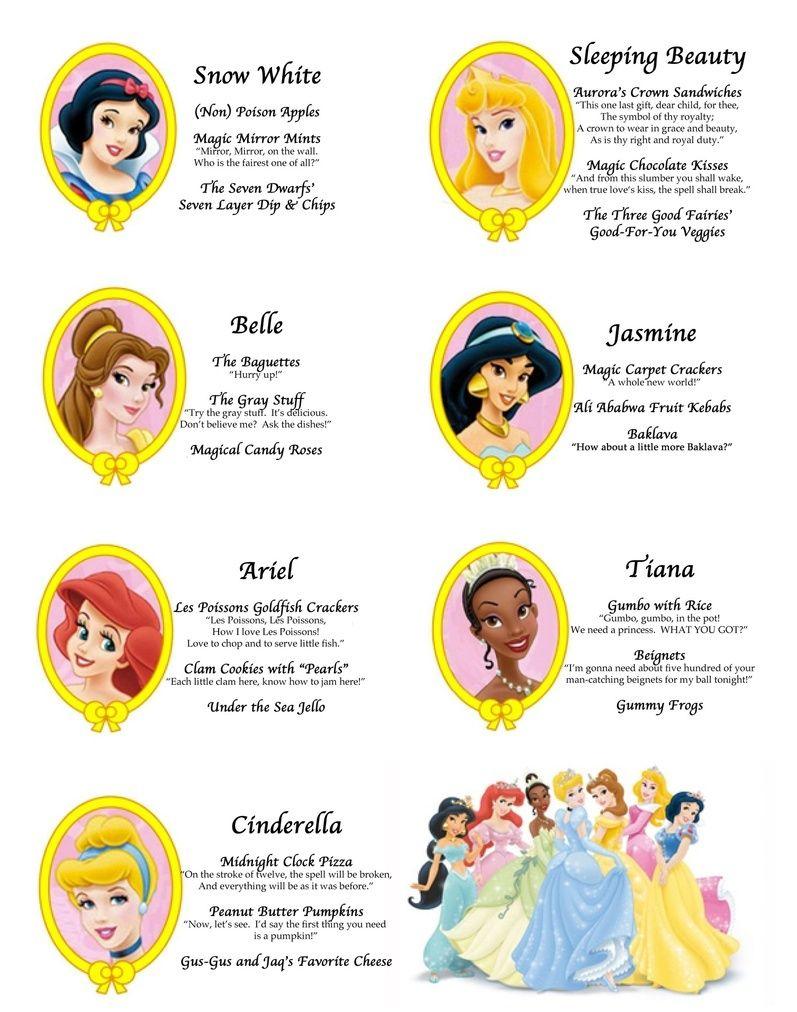 Crafty Party - Princesses menu | Aly turns 4! | Pinterest | Princess ...