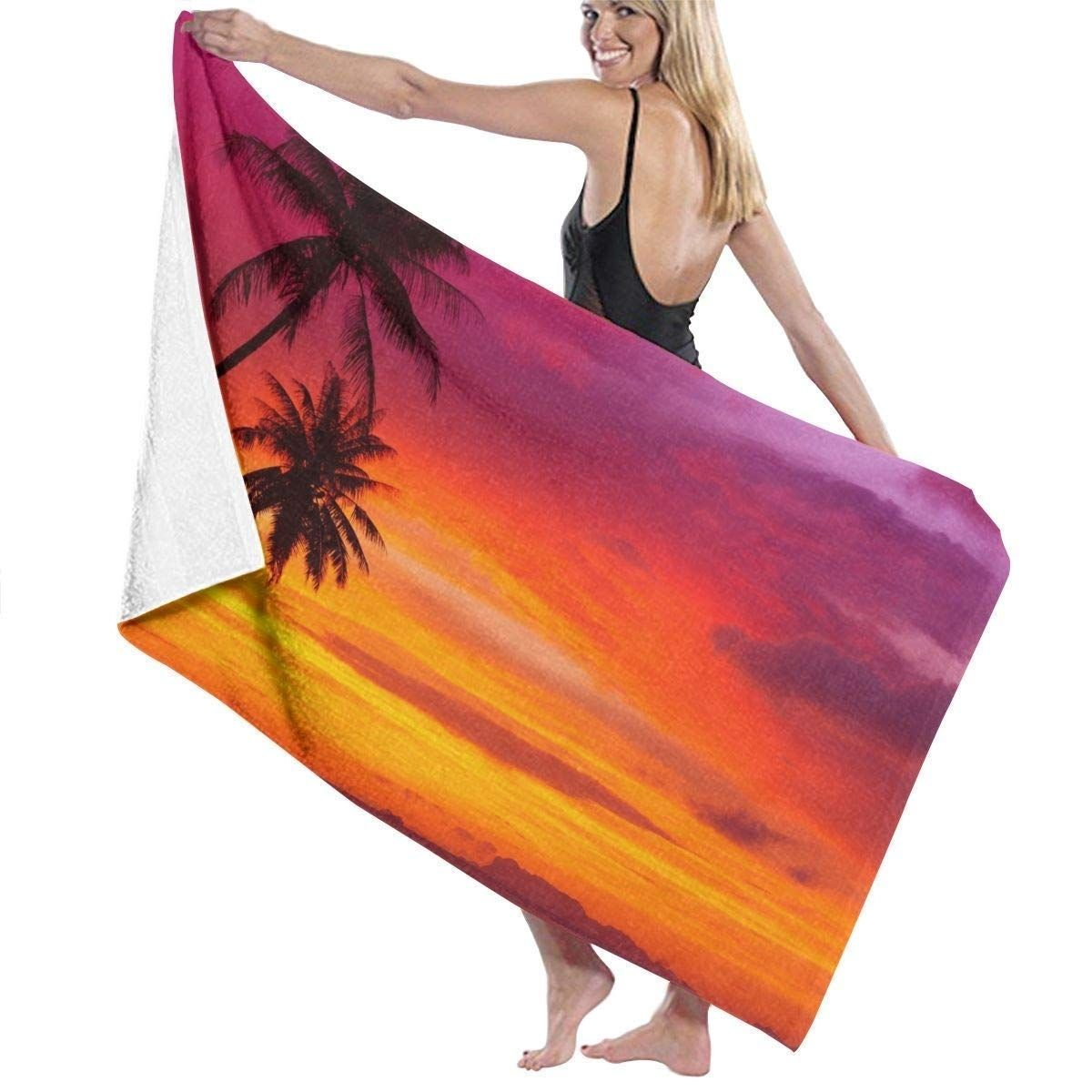 Pink Orange Palm Tree Sunset 3 Piece Bathroom Rugs Set Bath Rug Contour In 2020 With Images Bathroom Rug Sets Palm Tree Sunset Bathroom Rugs