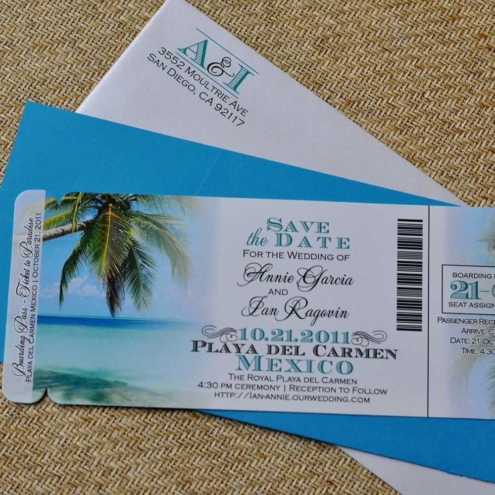 Fee - Boarding Pass Invitation Or Save The Date (Tropical ...