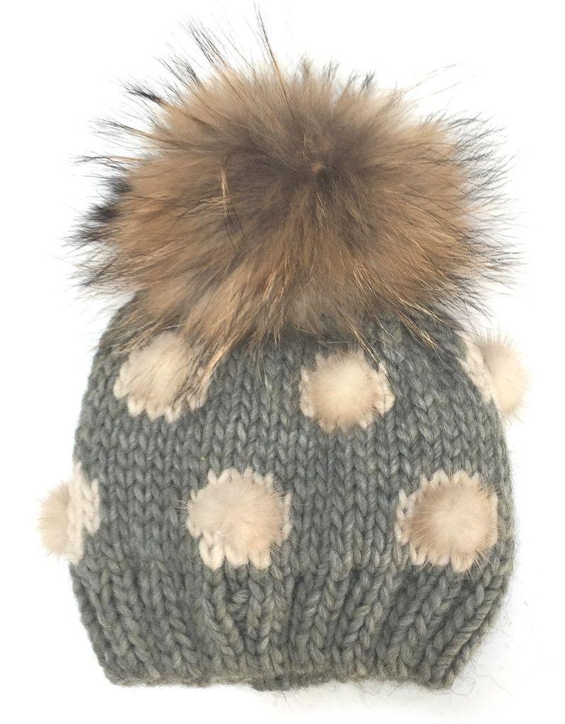 MONNALISA Fur Pompom Hat in Heather Grey  f4fa8c175b7a