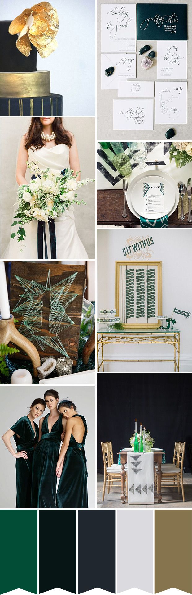 A Modern Emerald And Navy Color Palette With An Art Deco Edge Www Onefabday Com Modern Art Deco Wedding Art Deco Wedding Reception Art Deco Wedding