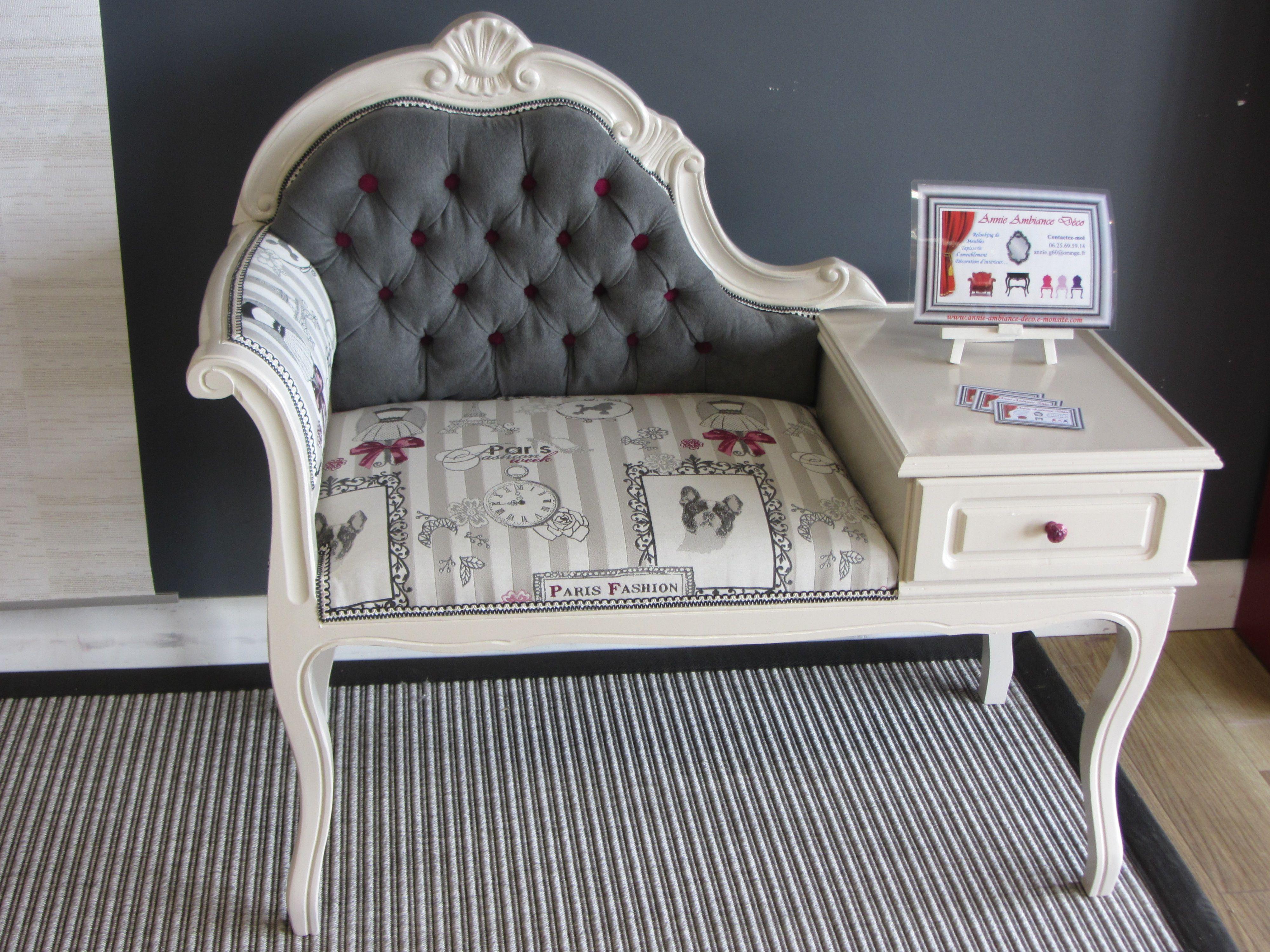 Petite Banquette Telephone Capitonnee Peinture De Chez Couleur De Tollens 600 Relooking Canape Mobilier De Salon Meuble Telephone