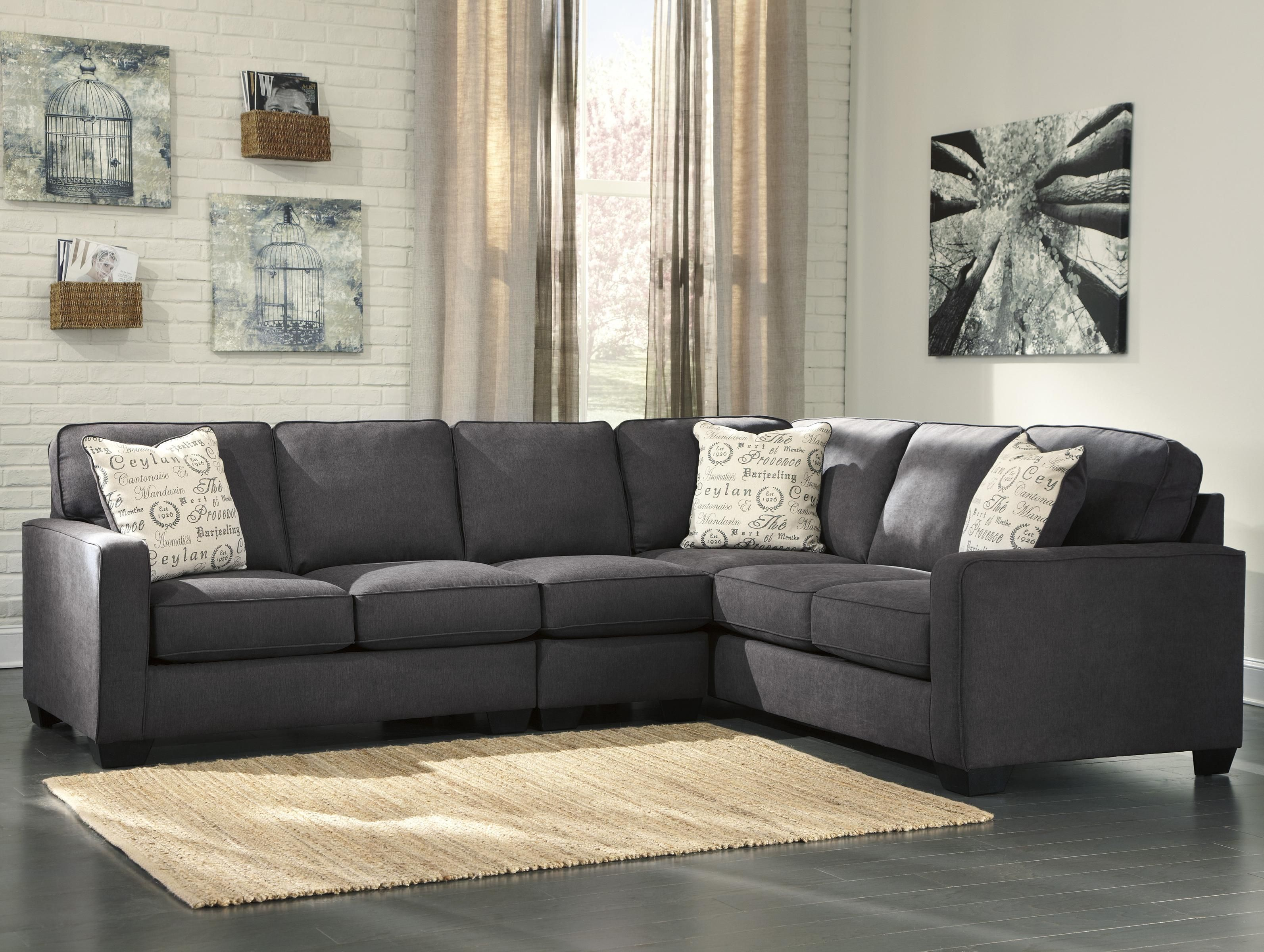 Alenya Charcoal 3 Piece Sectional with Left Loveseat by