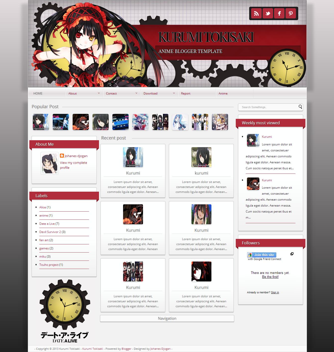 Kurumi Tokisaki blogger template. http://djogzs.blogspot.com/2013 ...