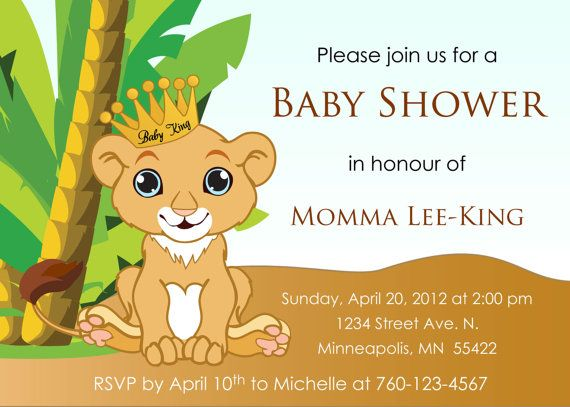 Baby Lion King Baby Shower Invitation Digital Image Proyectos