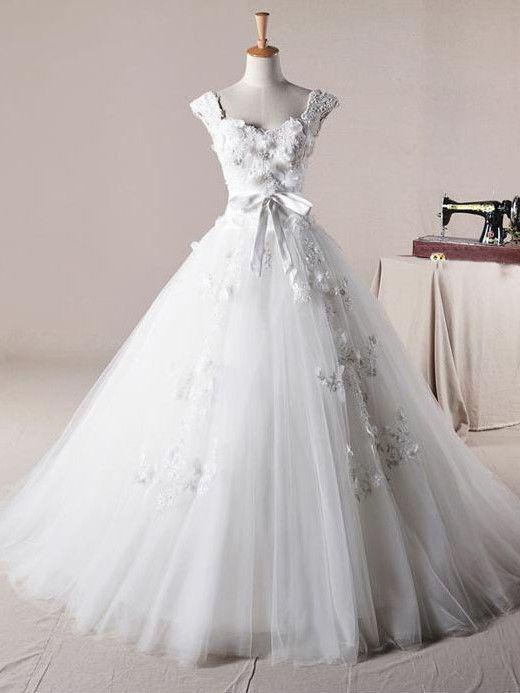 Cap Sleeves Wedding Dress | Princess Wedding Dress | Debutante Ball Gown