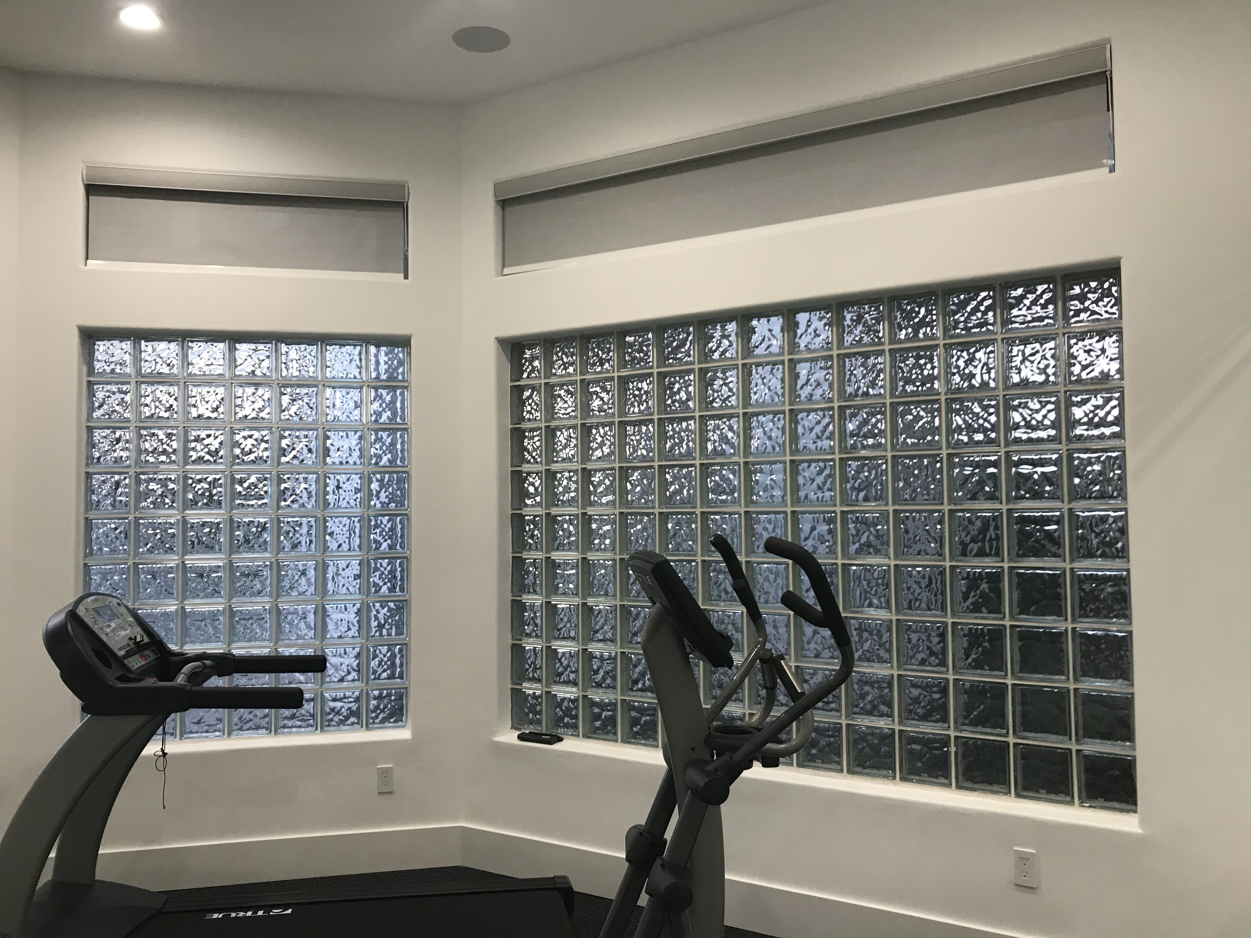 Home Gym With Greywhite 3% Screen Roller Shades With Cassette