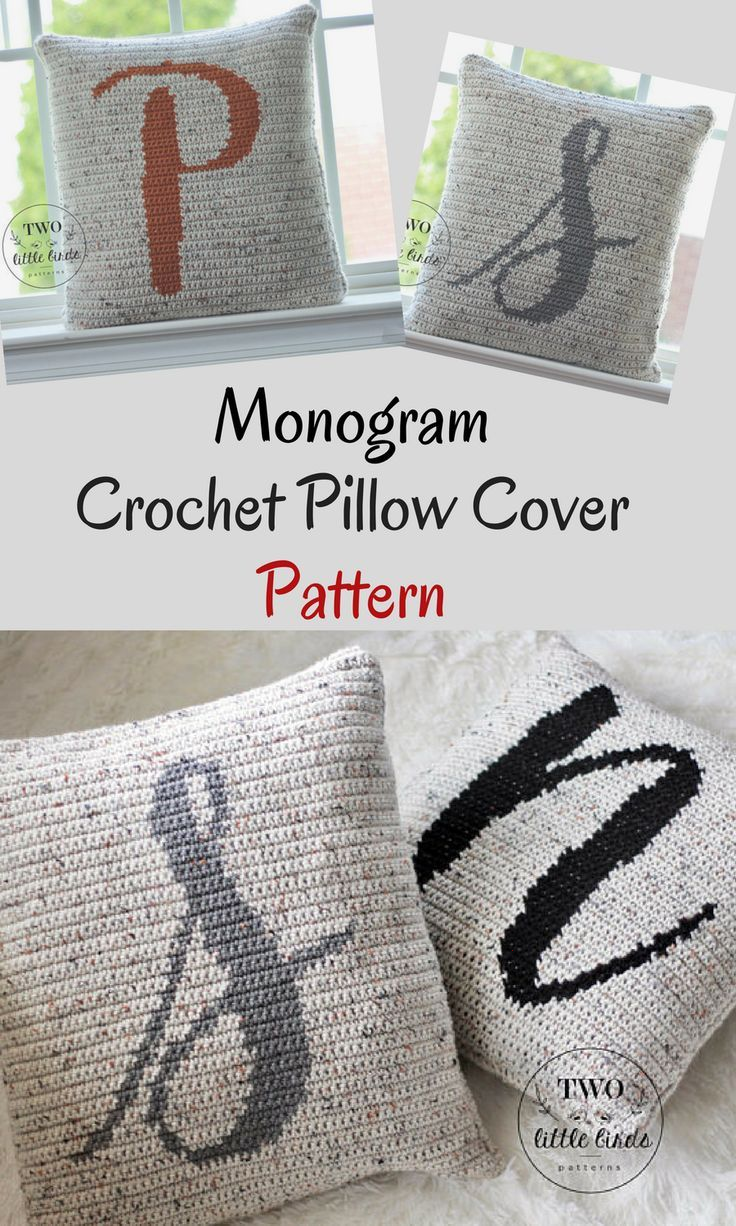 This monogram personalized crochet pillow cover pattern is a must-have for all crocheters