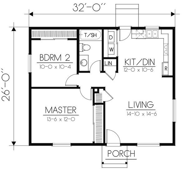 House Plan 692 00228 Traditional Plan 832 Square Feet 2 Bedrooms 1 Bathroom Tiny House Floor Plans Small House Floor Plans Two Bedroom House