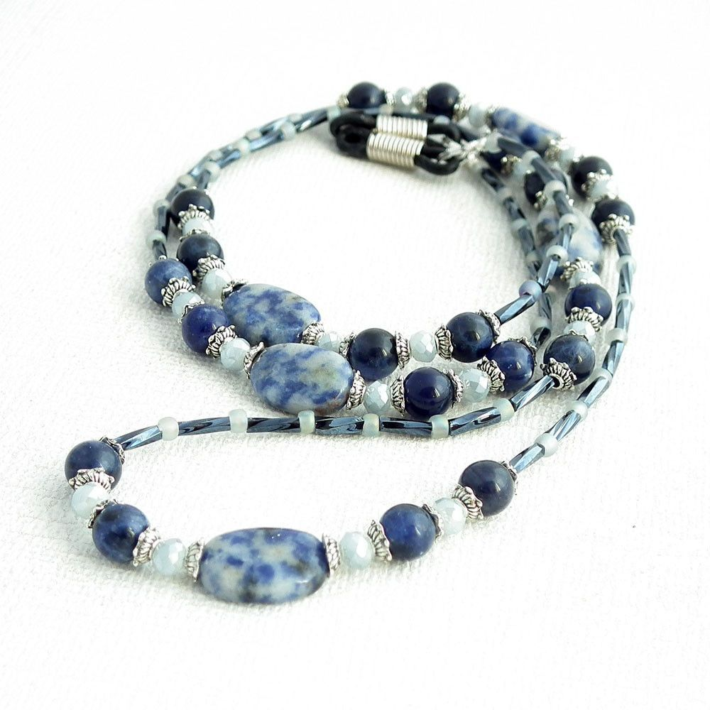Blue Sodalite Bead Eyeglass Chain - Reading Glasses Holder for Seamstress, Beader, Knitter