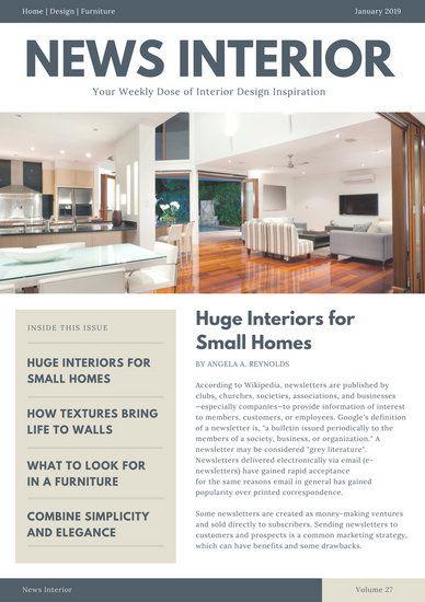 Blue And Gray Interior Design Newsletter Newsletter Templates