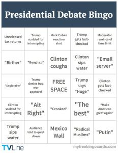 2016 Debate 1 bingo card