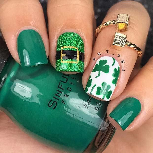 the most pretty Green Plaid Clover Nails 2018#nailitdaily #nailedit ...