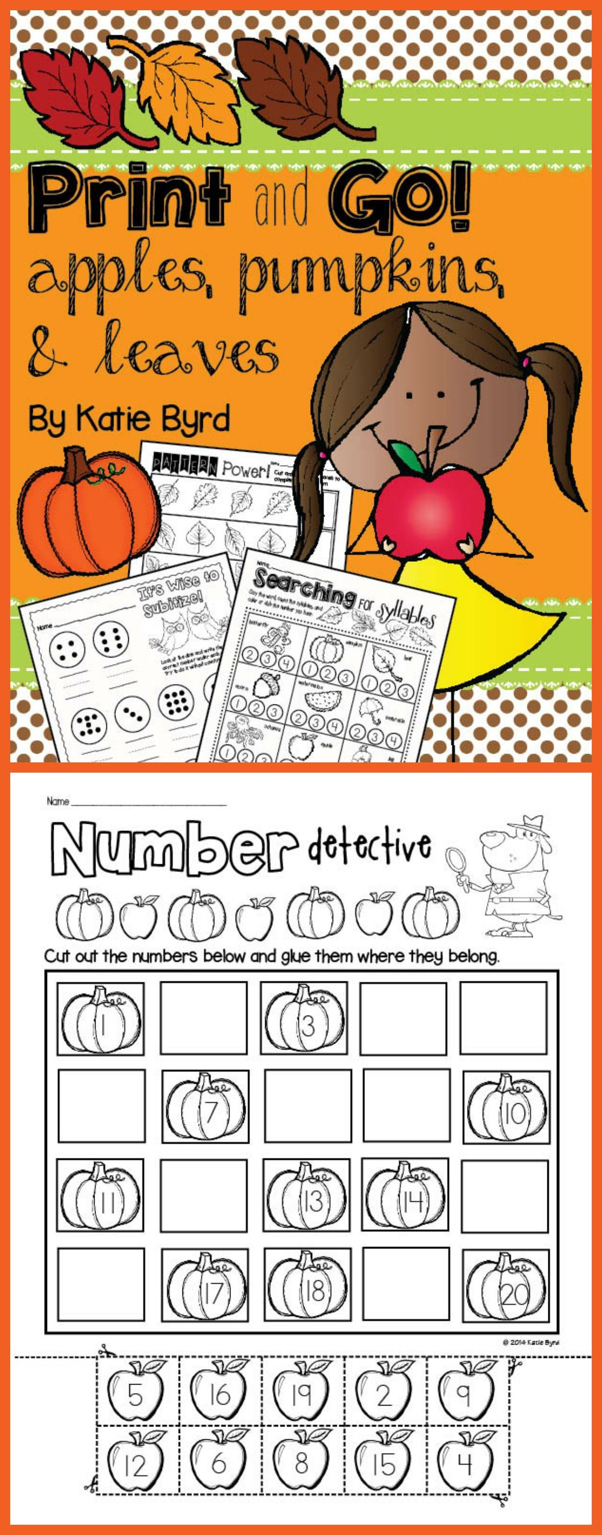 Practice pages for fall in your kindergarten classroom.  Made to save your ink and time. $
