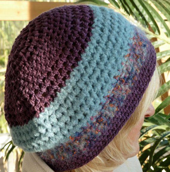 60209d8e0e2f0a Hat Blue Purple Woman Winter Crochet by hatsbyanne1942 on Etsy, $40.00