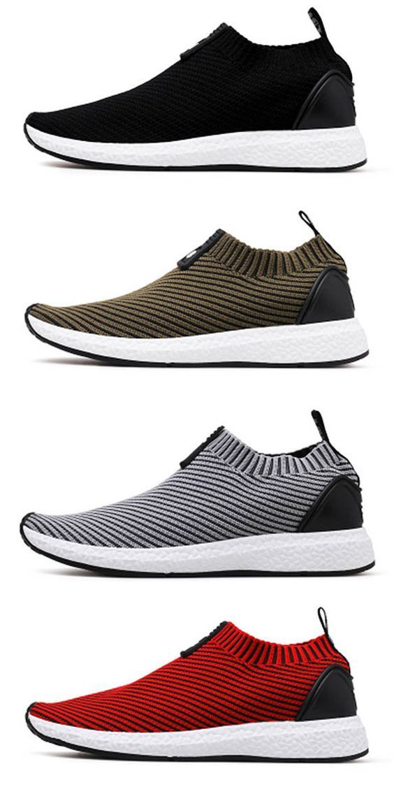 ca81aab099e0 Men Knitted Strech Fabric Breathable Non-slip Slip On Casual ...