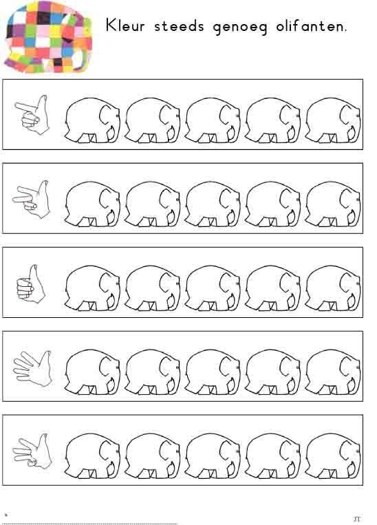 Coloriage Calcul Elmer.Colorier Le Nbr D Elephants Les Animaux Animali Coi Piatti Di