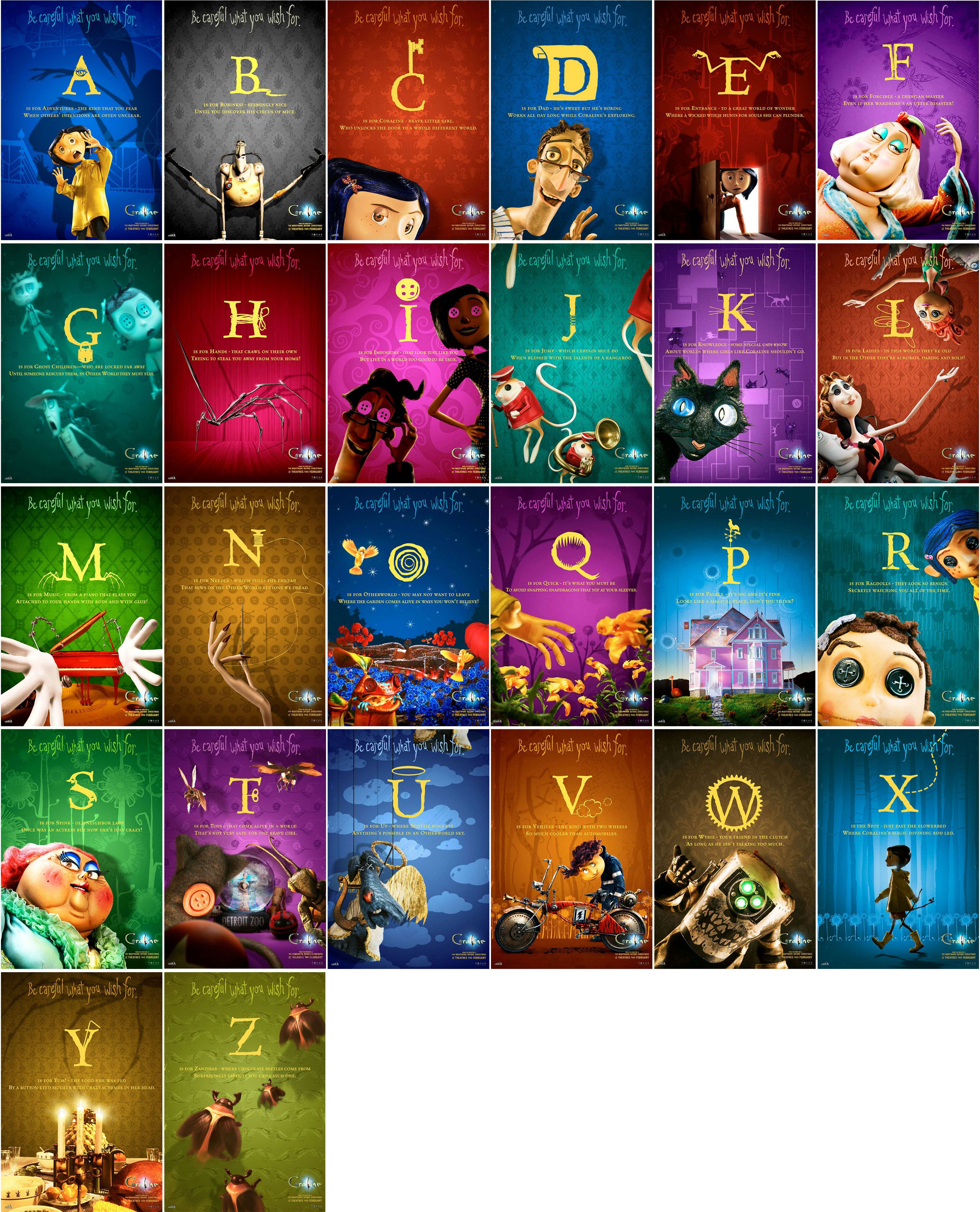 Coraline az character posters poster movie posters movies