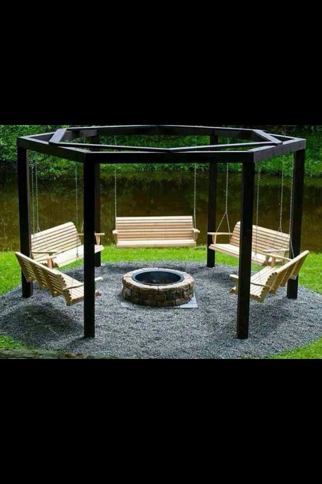 Stylish fire-pit and swing chairs