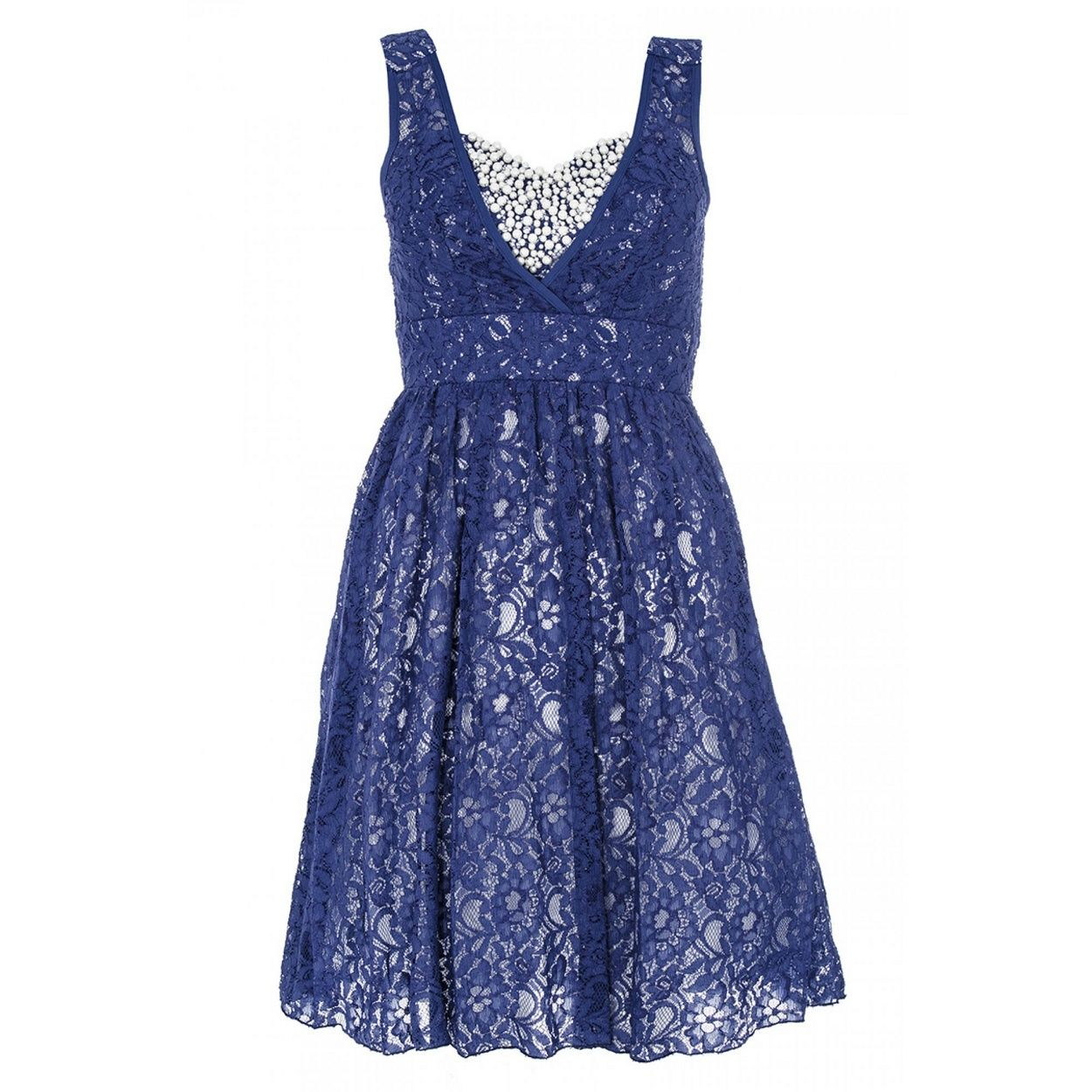 My birthday dress :) Blue and Cream Lace Bustier Pearl Dress- at ...