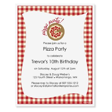 DIY Invitation Templates - Pizza Party Invitation Template - 8.5 x ...